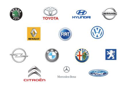 Skoda, Toyota, Hyundai, Nissan, Renault, Fiat, Volkswagen, Opel, BMW, Alfa Romeo, Peugeot, Citroen, Mercedez Benz, Ford
